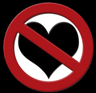 anti love-picture: sign prohibiting heart