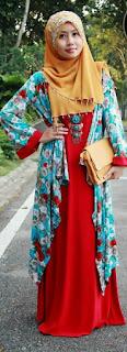 Dress Muslim dengan Motif