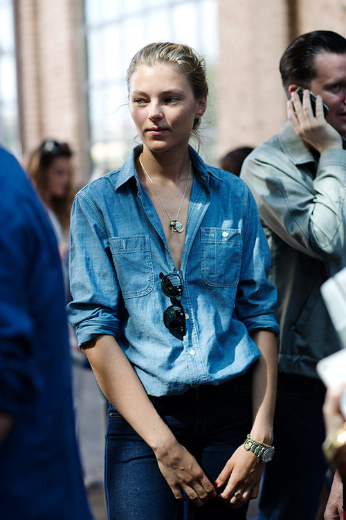 street style - double denim and chambray