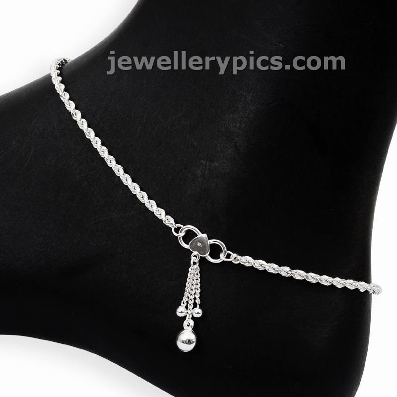 grt stylish silver anklets pattilu foot bracelets