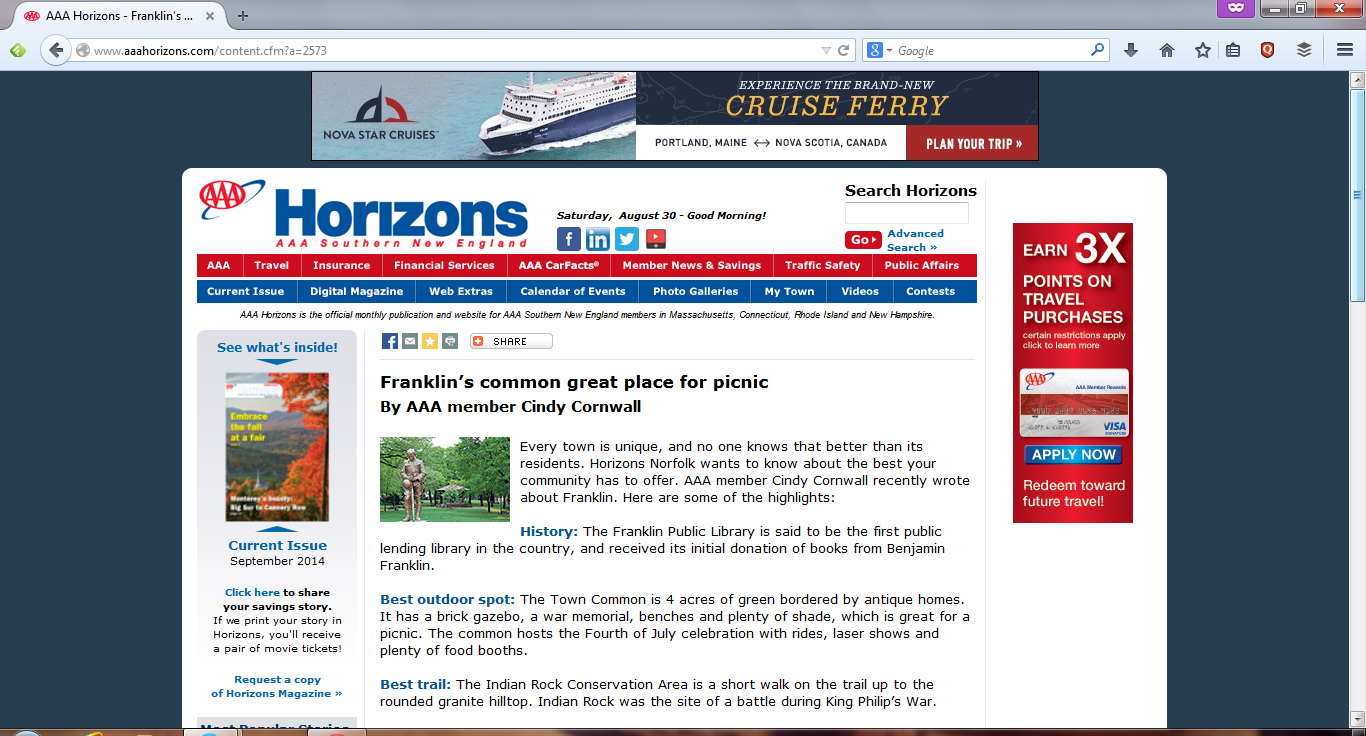 screen view of Franklin article on the Southern New England AAA site