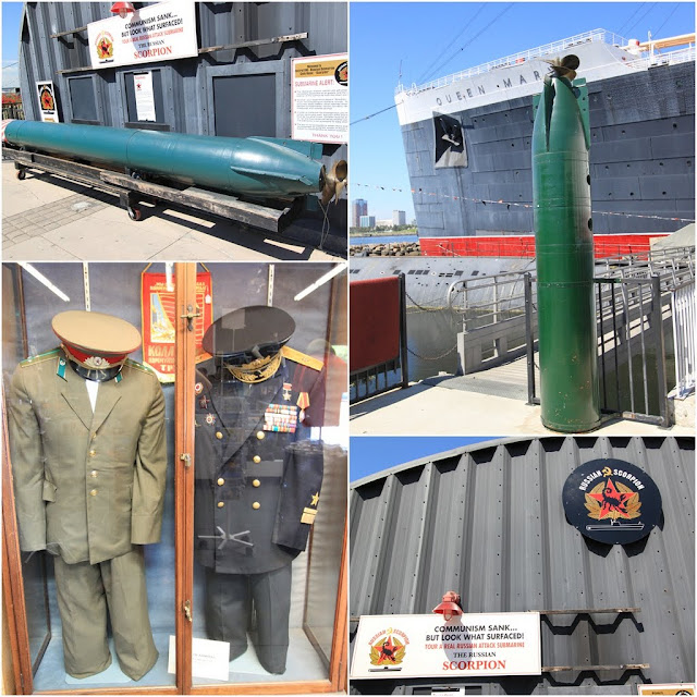 Torpedo and the uniform display for the Russian Scorpion Submarine at Long Beach, Los Angeles, California, USA