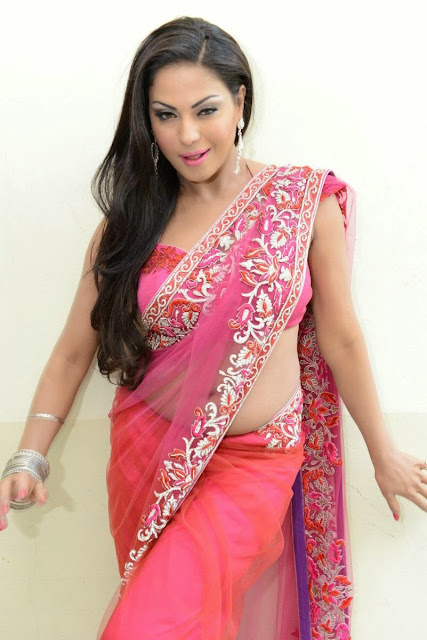 Veena Malik Hot Stills In Saree Navel Queens