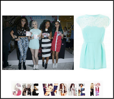 Floral Pattern, In love with Fashion, Lace, Little Mix,  LOVE, Mint Green, Pastel, Perrie Edwards, Playsuit, White,