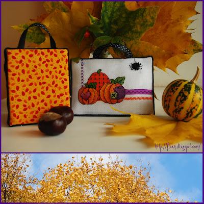 вышивка  Dimensions  00271, дименшинс осень, вышивка пинкип очень, вышивка хеллоуин, вышивка тыквы, вышивка листья, осенние вышивка, вышивка миниатюра осень, вышивка оранжевый и фиолетовый