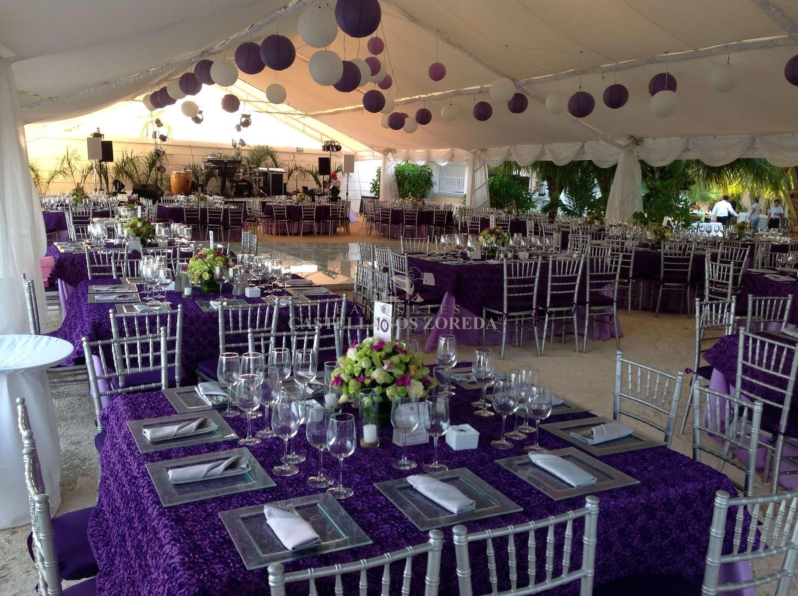 Cancun bodas y eventos morados y lilas a orillas del mar for Arreglo de boda en jardin