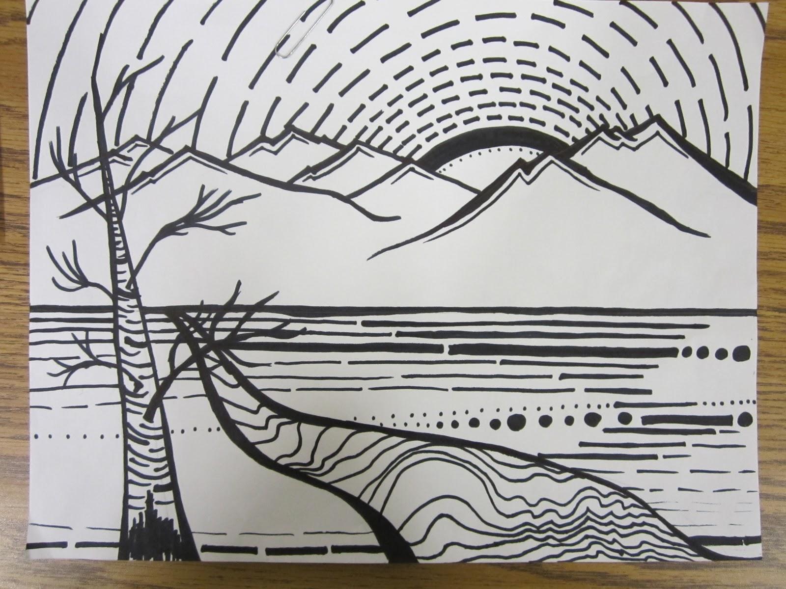 Line Design Art Lesson Plan : Lesson plans continuous line landscape