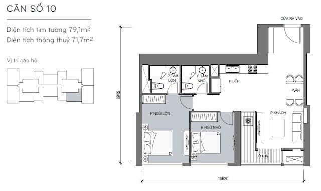 Căn hộ Vinhomes Central Park 4, 5, 6 - Kiểu nhà số 10 - 79.1m2 - 2PN