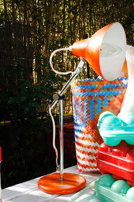 Lampe articulée sur pied vintage orange - années 70