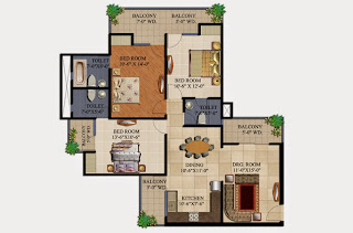 34 Pavilion :: Floor Plans,Aristo :- 3 BHK3 Bedrooms, 2 Toilets, Kitchen, Dining, Drawing, 4 Balconies Super Area - 1595 Sq Ft