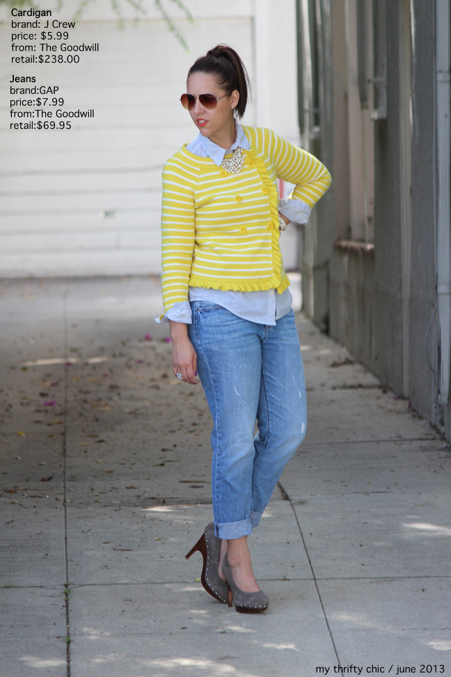 JCrew yellow Cardigan gap boyfriend jeans