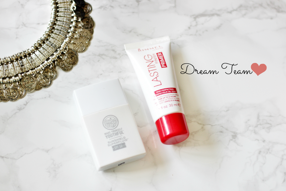 dream team rimmel london lasting finish primer and soap and glory make yourself youthful sunshield