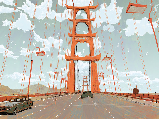 A rendering of the Golden Gate Bridge, with the archways designed to look like Asian gateways.