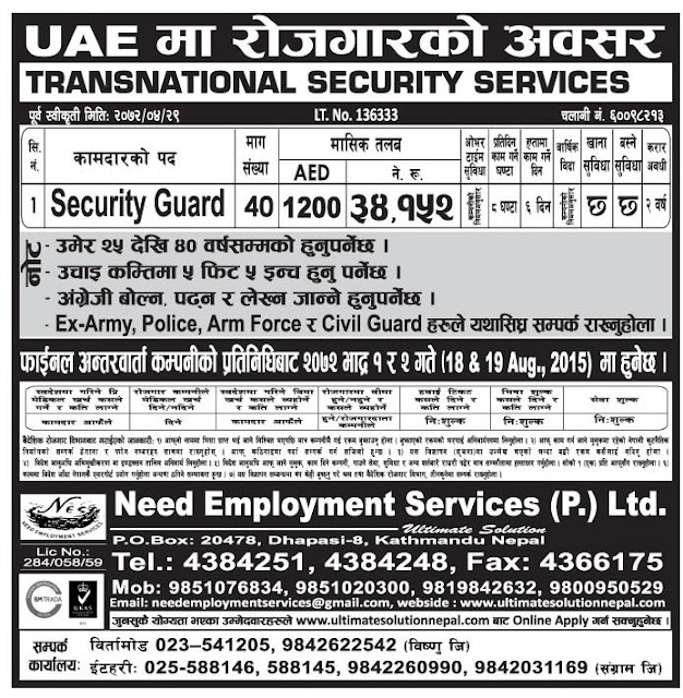 Vacany For Security Guard In DUBAI