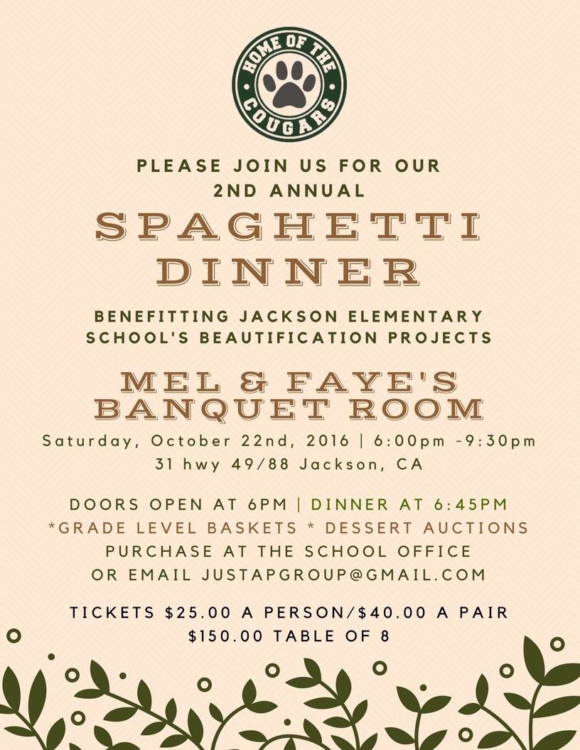 2nd Annual Spaghetti Dinner Fundraiser for Jackson Elementary School - Sat Oct 22