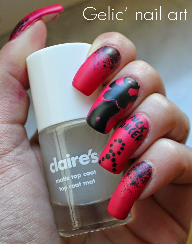 Gelic\' nail art: Claire\'s - Matte top coat + Black and Pink nail art