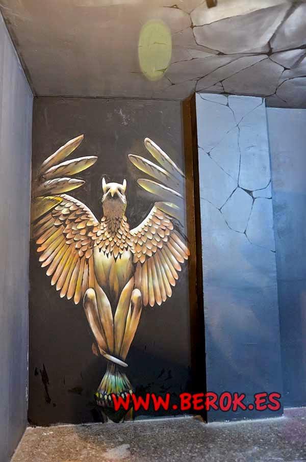 Decoración pintura mural a mano de Gárgola en 3D