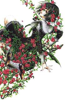 Hada rodeada de flores