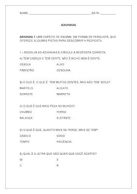 Atividades de Português - Atividades de Alfabetização 5