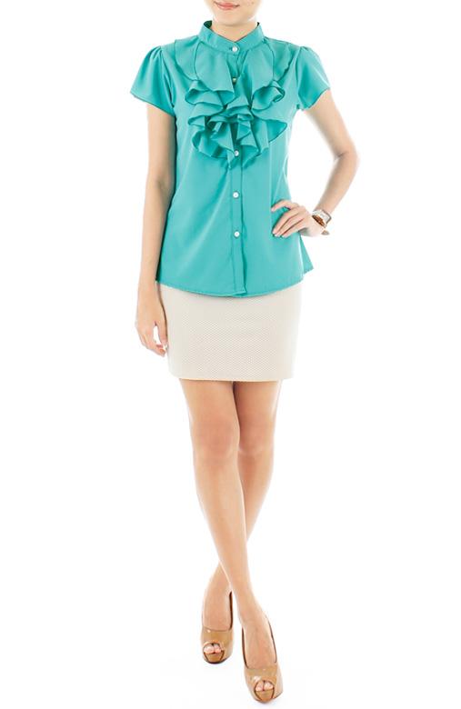 Ruffled Petal Blouse – Brilliant Turquoise