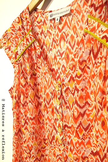 Vêtement Vanina Escoubet Top Ikat orange jaune Betty