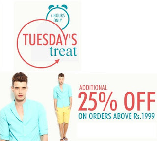 Enjoy Additional 25% Discount on Rs.1999 at Myntra (Hurry!!! Offer Valid for Today)