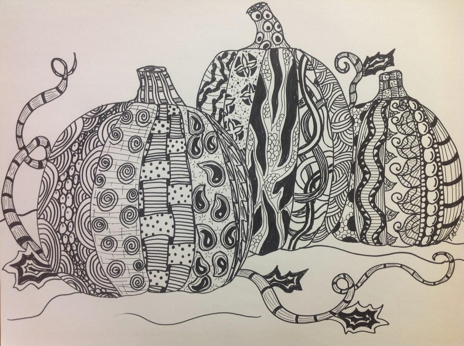 Splats, Scraps and Glue Blobs: Zentangle Pumpkins