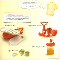 Tupperware Food preparation Set (Handy Grater + Vegetable Peeler + Mini Magic Flow + Spice Towers)