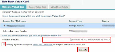 sbi free virtual credit card how to