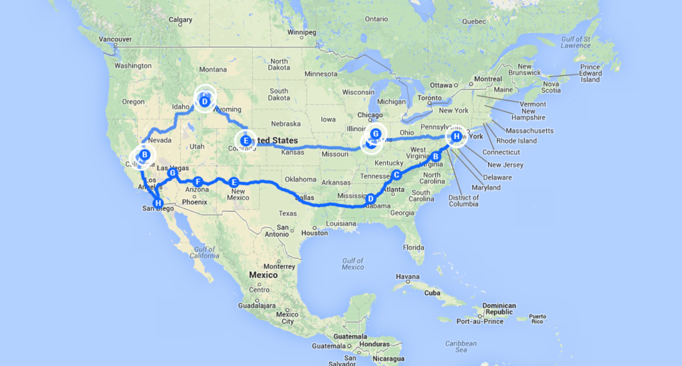 two month road trip through the usa east to west and back again