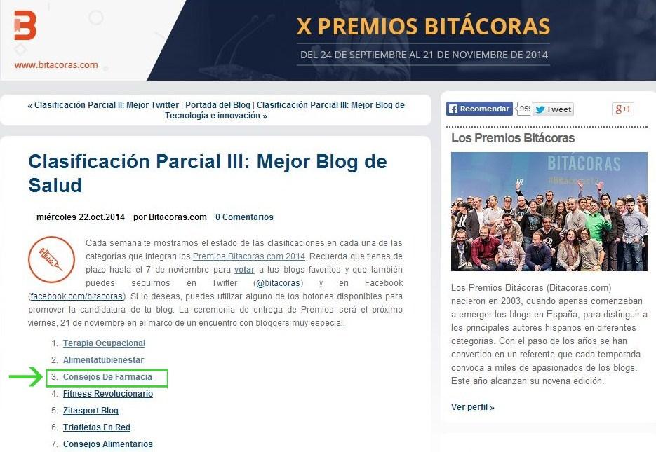 X Premios Bitacoras - mejor blog de salud Consejos de Farmacia
