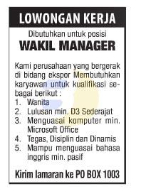 Lowongan Kerja WAKIL MANAGER Lampung