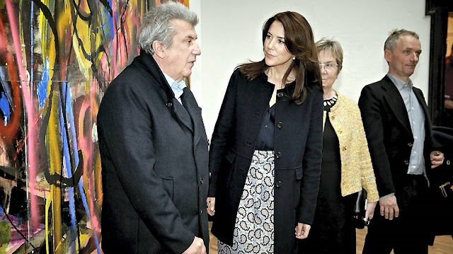 Crown Princess Mary of Denmark attended the opening of a double anniversary exhibition marking the Artist Association Groenningen 100th anniversary