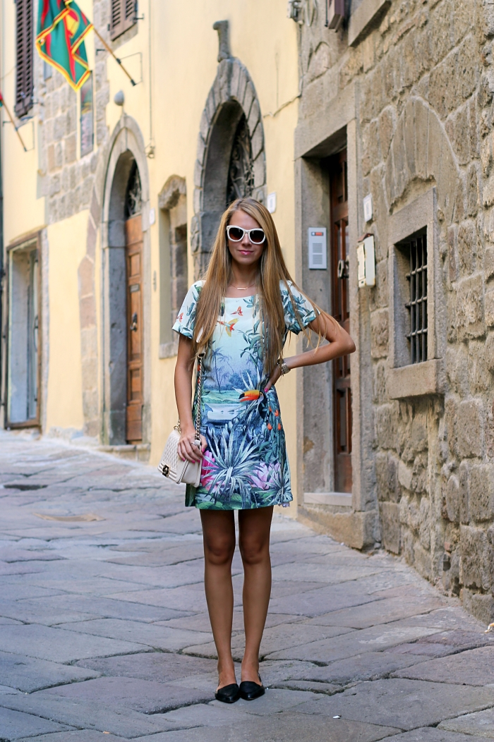 green dress, casual, traveling, Mango sunglasses, h&m flats, pastels