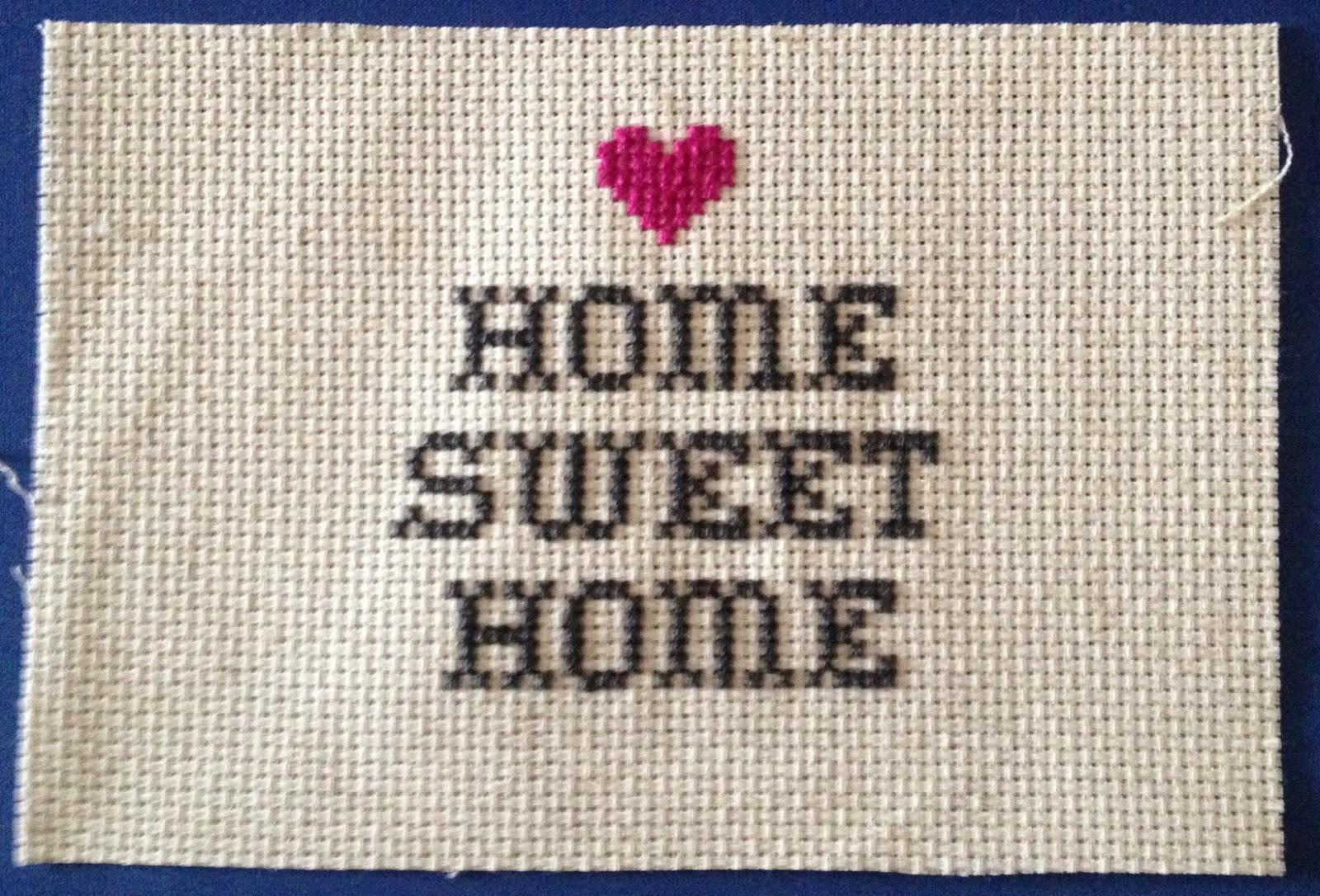 The crafty novice cross stitch home sweet