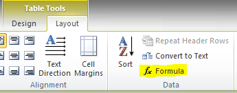 MS Word Formula Option in Layout Tab