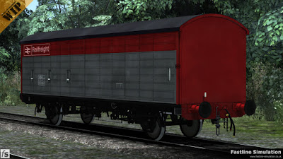 Fastline Simulation: Even though the COV ABs were the first mass produced long wheelbase van and constantly improved upon in later builds, they were still repainted into the Railfreight flame red and grey livery.