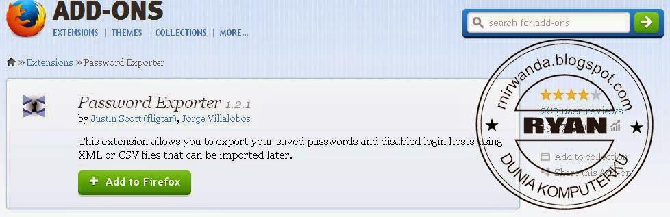 Cara Export Password Mozilla Firefox