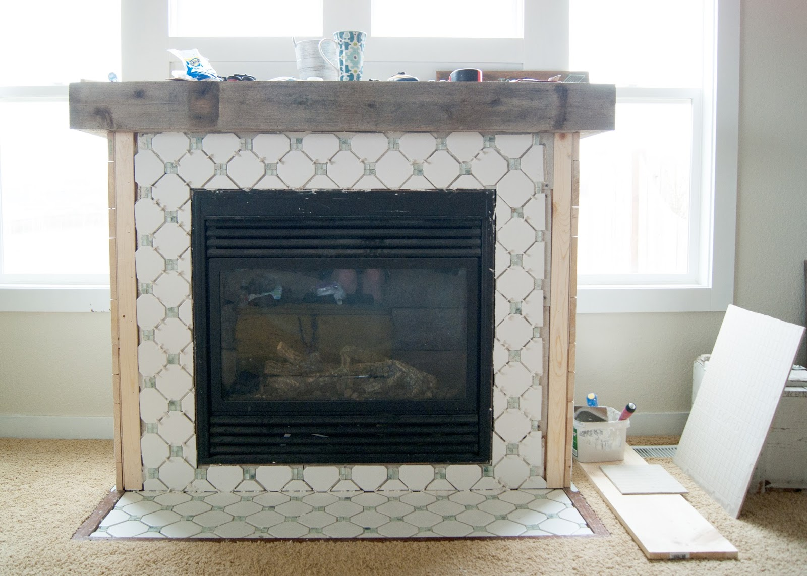 Tiling a fireplace - octagon and dot pattern