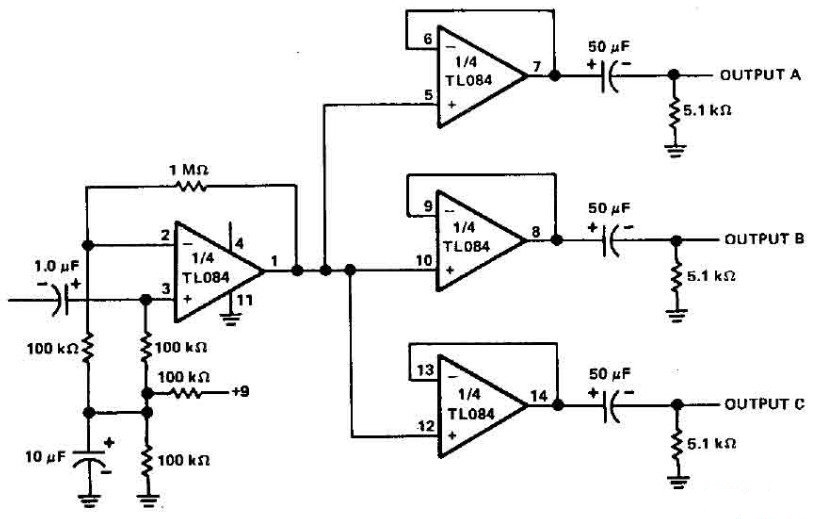 3 channels audio splitter amplifier circuit diagram using