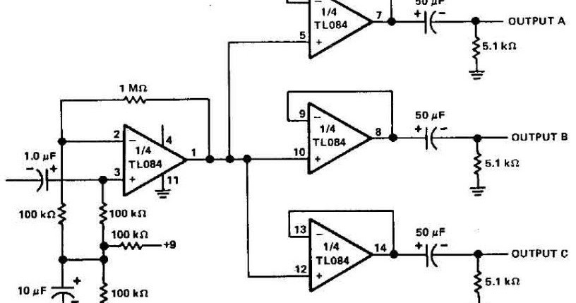 build a 3 channels audio splitter amplifier circuit diagram using tl084
