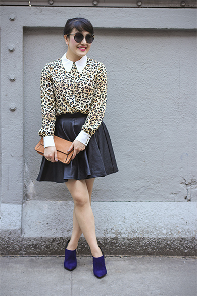 Leopard print blouse with Navy leather booties