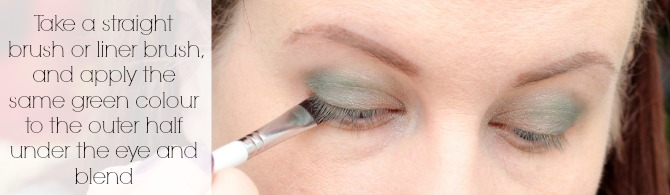 Take a straight brush or liner brush and apply the same green colour to the outer half under the eye and blend