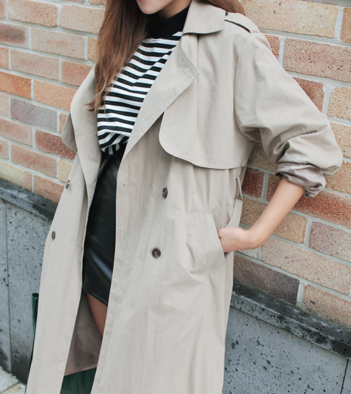 Loose Double Breasted Trench Coat