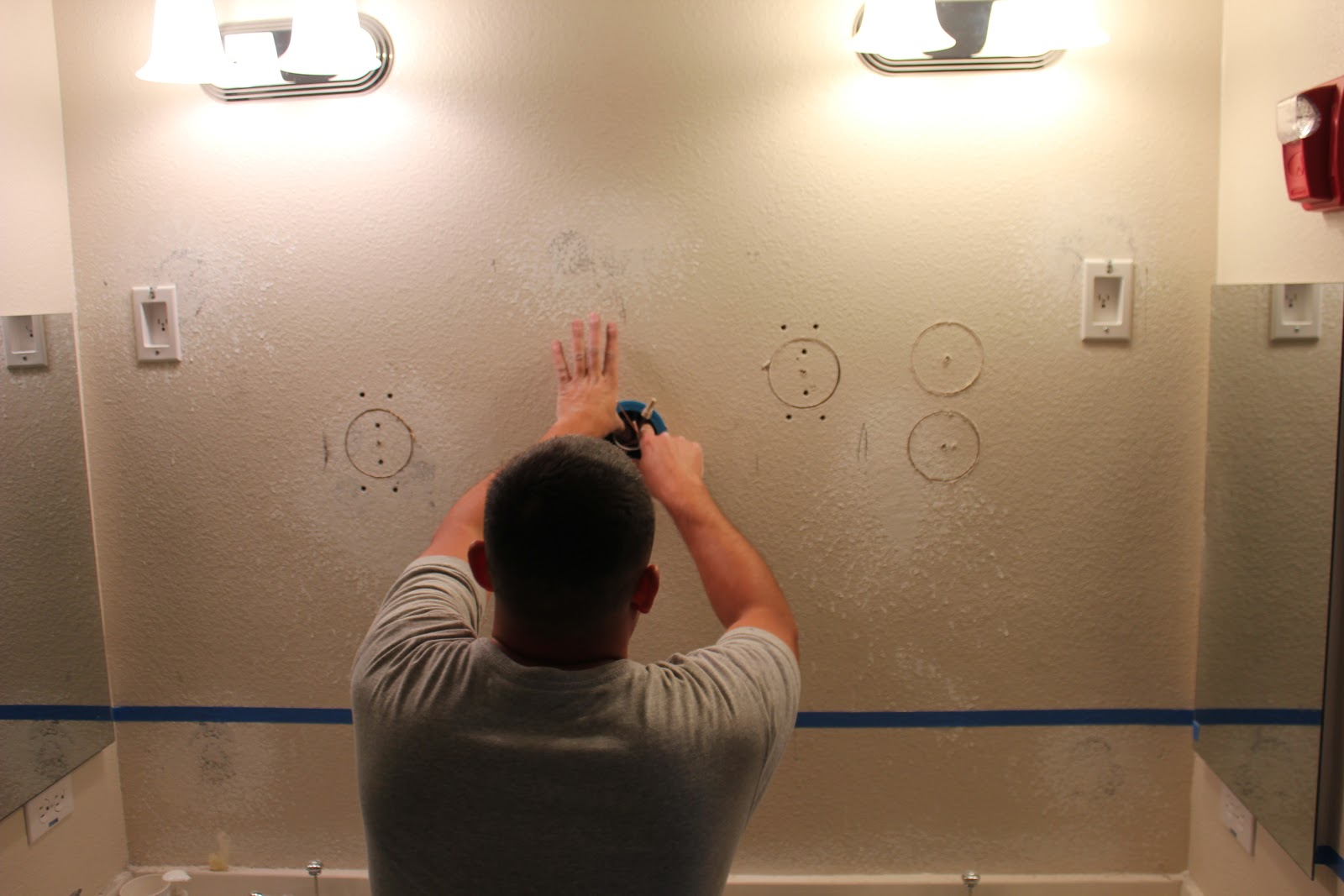 Inside The Frame Master Bathroom Project Wiring New Lighting Up Light Next Dual Tone Painting