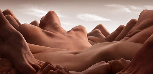 cuerpos humanos formando un paisaje