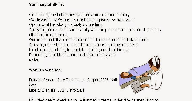 Dialysis Patient Care Technician Resume Examples