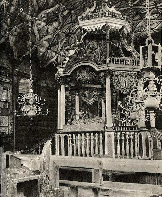 Przedbórz, nieistniejąca bóżnica - wnętrze sali z widokiem na bimę.
