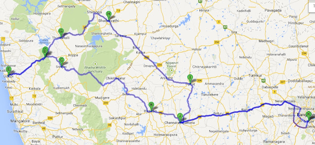 Monsoon Road Trip Route Map