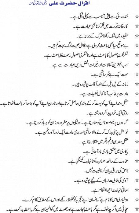 Aqwal e zareen in Urdu: Aqwal Hazrat Ali ( Karam Ullah Waj Ho ) K
